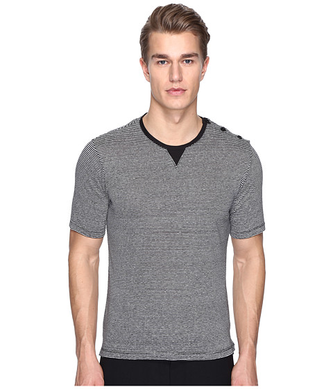The Kooples Sport Striped Cotton Linen T-Shirt