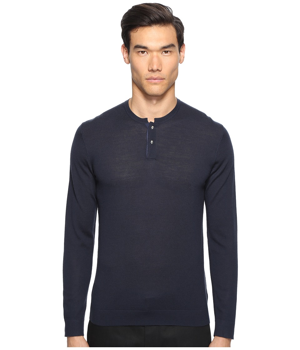 The Kooples Lightweight Merino Henley (Blue) Men