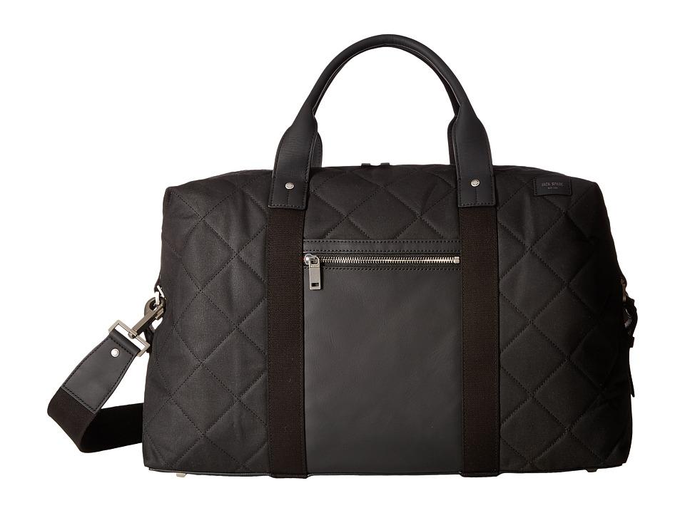 Jack Spade Quilted Waxwear Travel Duffel (Black) Duffel Bags
