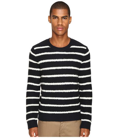 Vince Textured Striped Merino Blend Long Sleeve Crew Neck Sweater - Coastal/Pearl