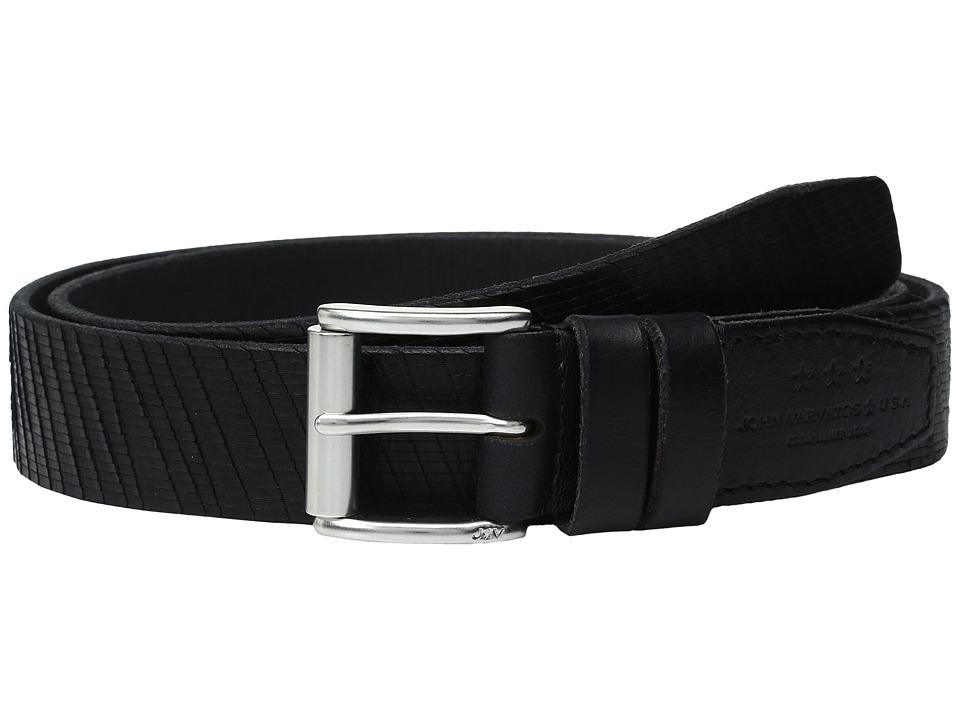 John Varvatos Laser Cut Textured Belt with Roller Buckle (Black) Men
