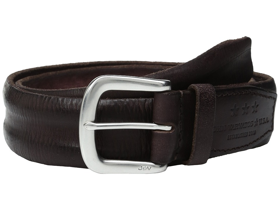 John Varvatos Boarded and Washed Leather Strap Belt with Buckle (Chocolate) Men