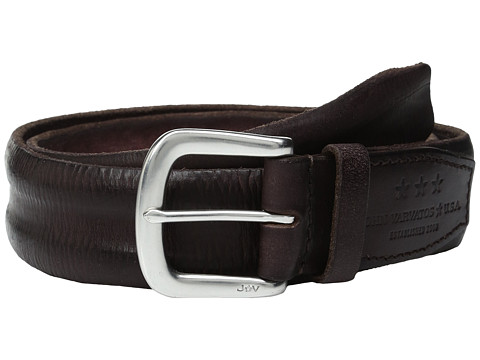 JOHN VARVATOS Boarded And Washed Leather Strap Belt With Buckle in Chocolate