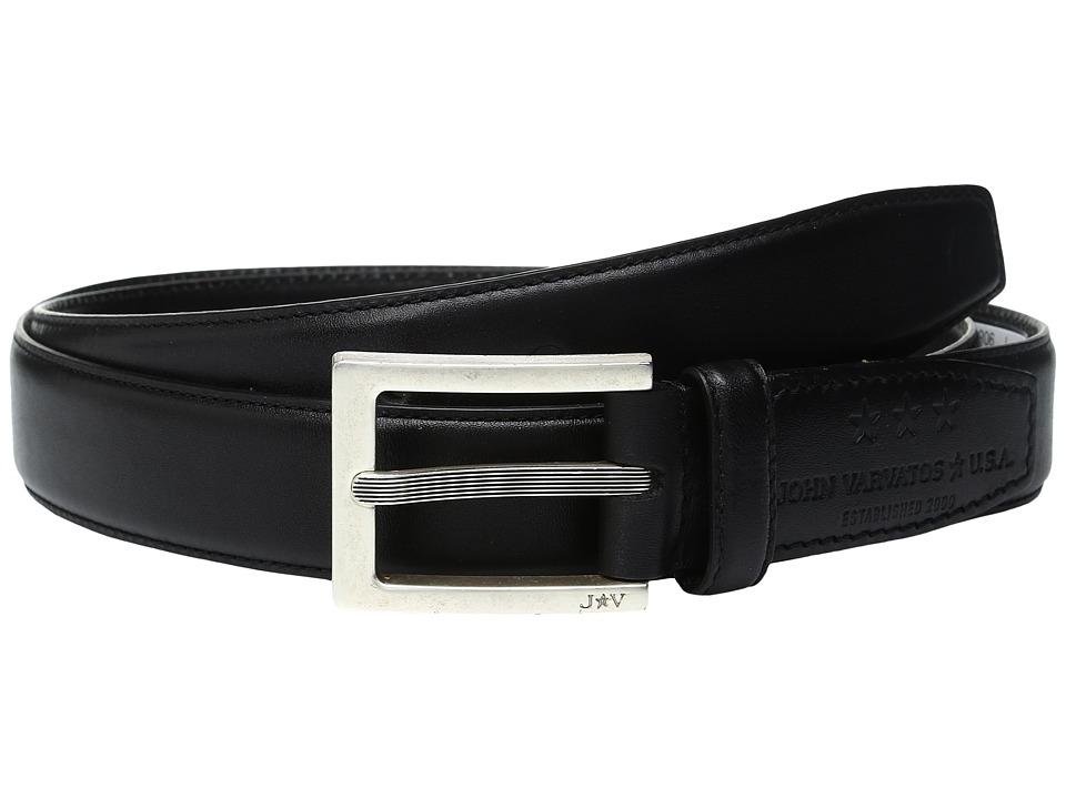 John Varvatos Leather Dress Belt with Rectangular Buckle (Black) Men