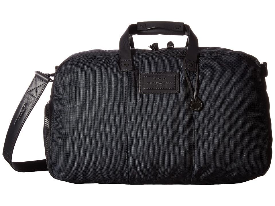 John Varvatos Croc Embossed Ballistic Nylon Duffel (Navy) Duffel Bags