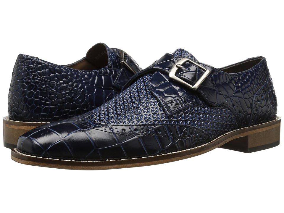 1960s Style Men's Clothing, 70s Men's Fashion Stacy Adams - Giannino Blue Mens Shoes $90.00 AT vintagedancer.com