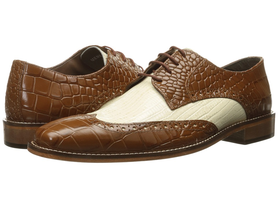 1950s Style Mens Shoes Stacy Adams - Giordano MustardIvory Mens Shoes $90.00 AT vintagedancer.com