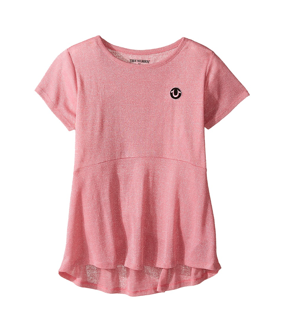 True Religion Kids Glitter Stripe Peplum T-Shirt (Little Kids/Big Kids) (Prism Pink) Girl