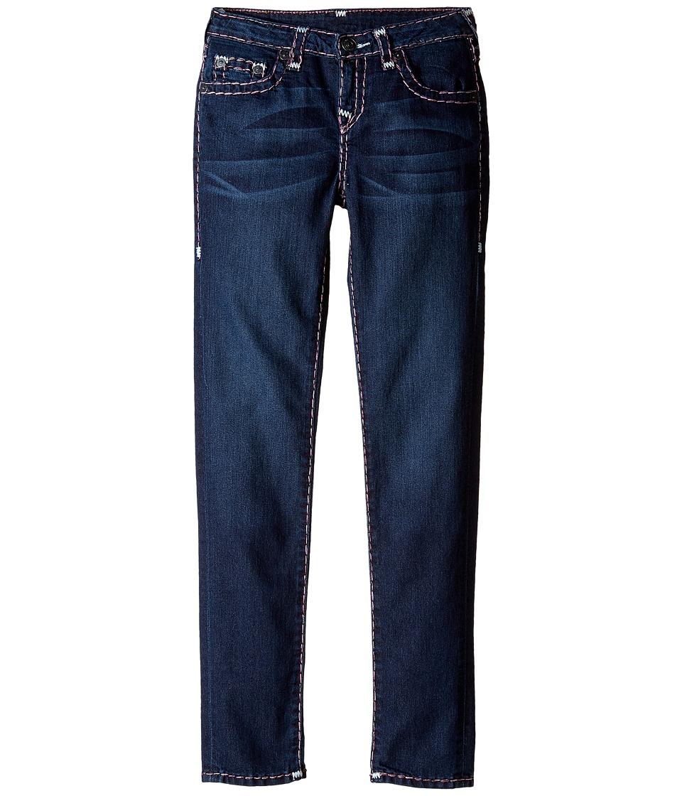 True Religion Kids Casey White and Pink Combo Super T Jeans in Tear Drop Blue (Big Kids) (Tear Drop Blue) Girl