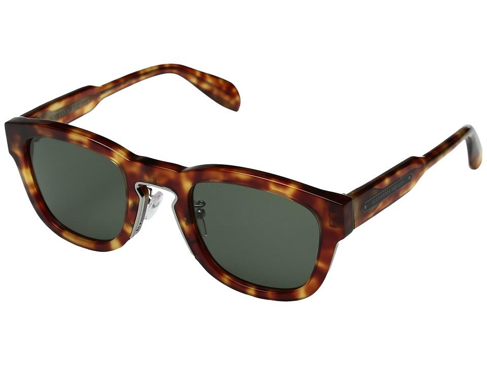 Image of Alexander McQueen - AM0047S (Havana/Green) Fashion Sunglasses