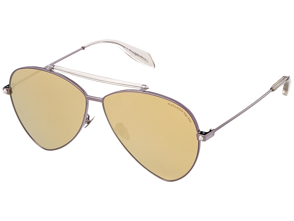 Image of Alexander McQueen - AM0058S (Brown/Gold Mirror) Fashion Sunglasses
