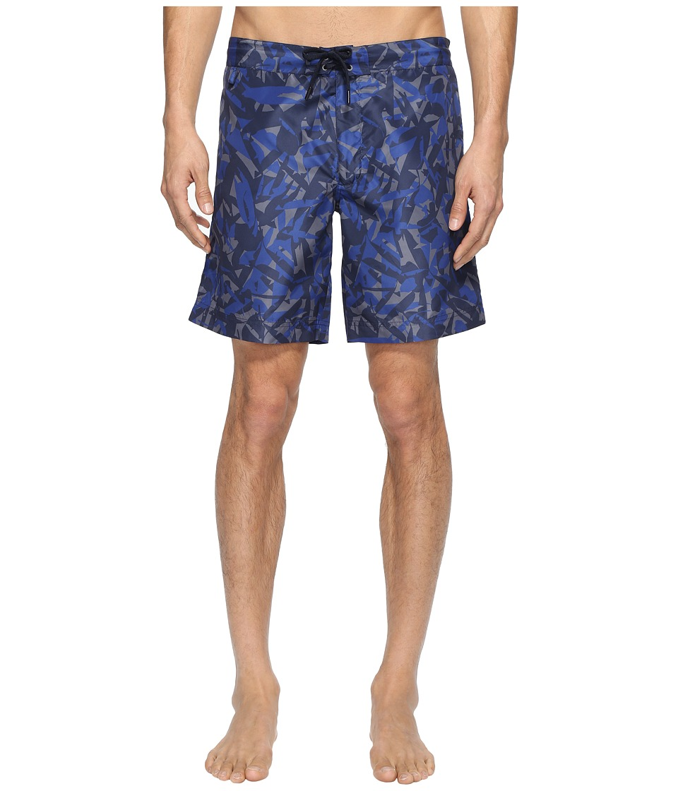 Zegna Abstract Camo Boardshorts (Blue) Men's Swimwear