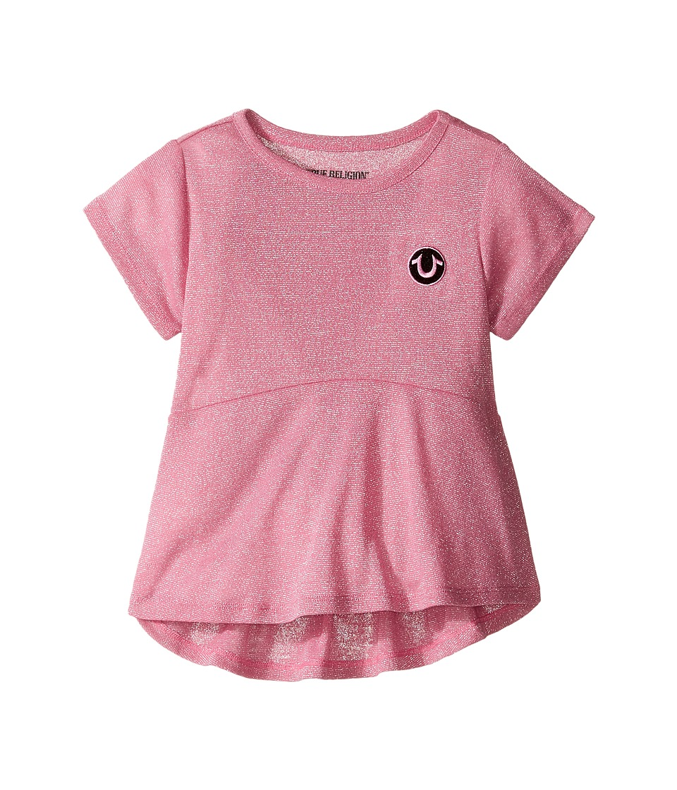 True Religion Kids Glitter Stripe Peplum T-Shirt (Toddler/Little Kids) (Prism Pink) Girl