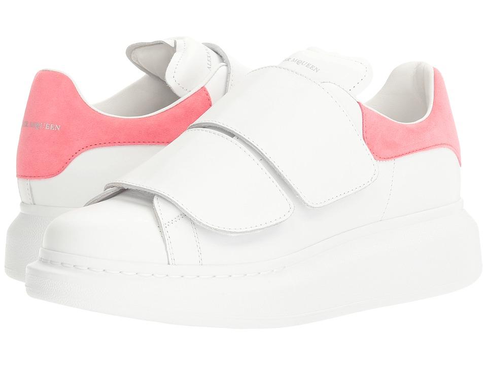 Alexander McQueen Hook and Loop Sneaker (White/Bubblegum) Women