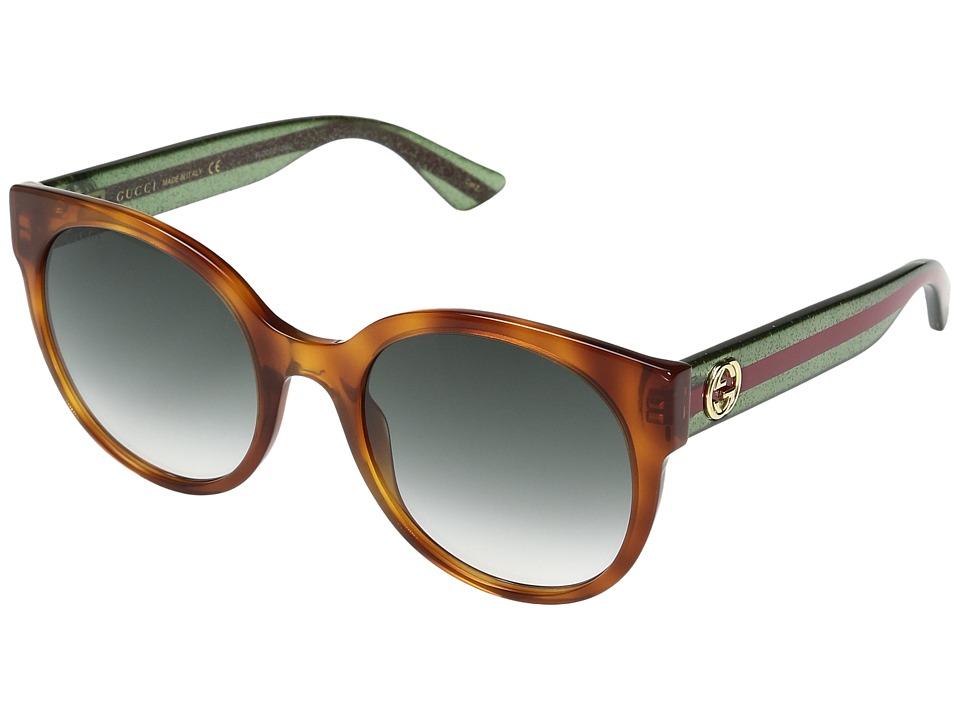 Gucci GG0035S (Havana/Green) Fashion Sunglasses