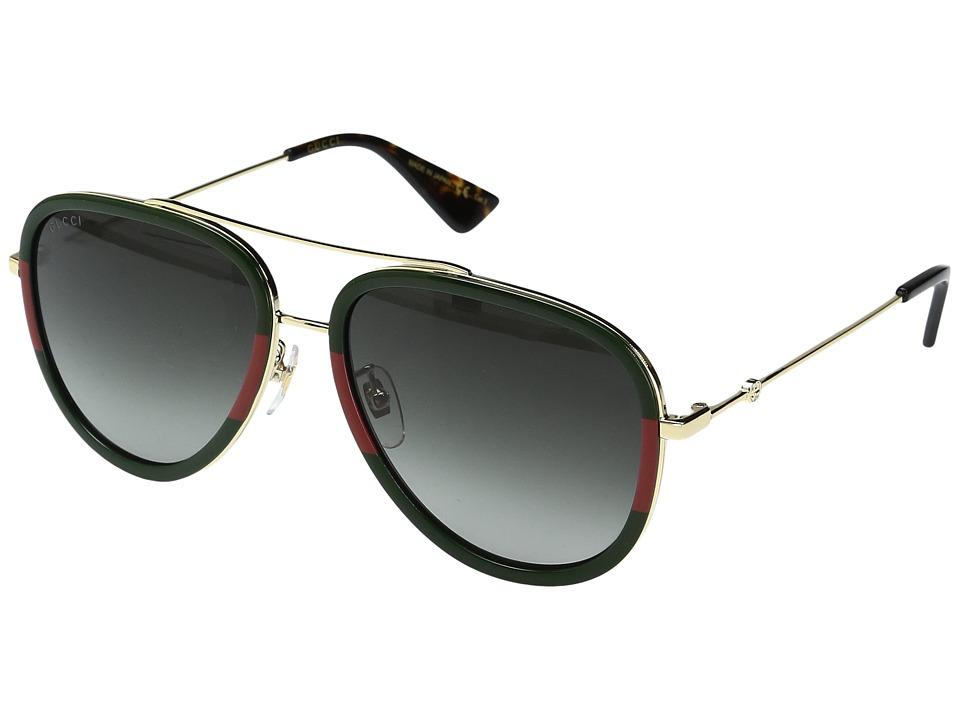 Gucci GG0062S (Havana/Green) Fashion Sunglasses