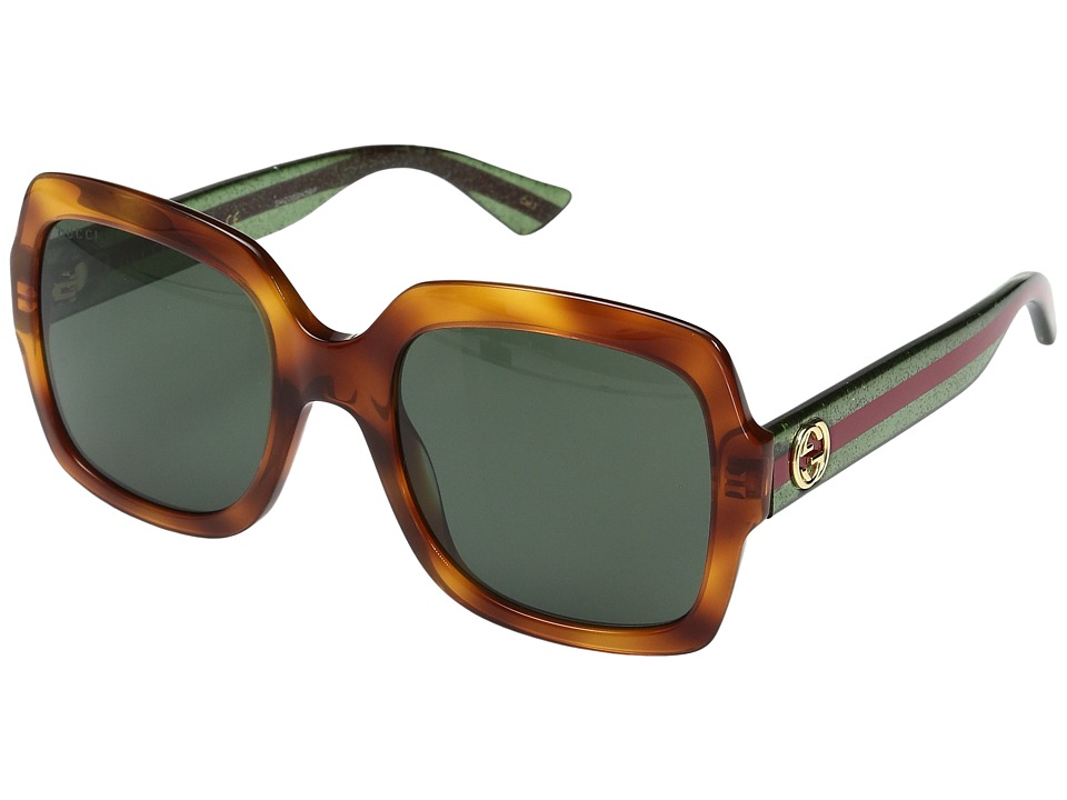 Gucci GG0036S (Havana/Green) Fashion Sunglasses