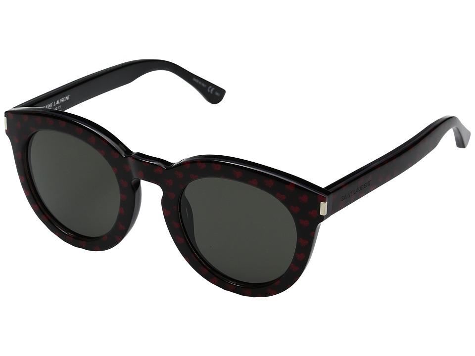 Saint Laurent - SL 102 (Black/Red Glitter Hearts/Smoke) Fashion Sunglasses