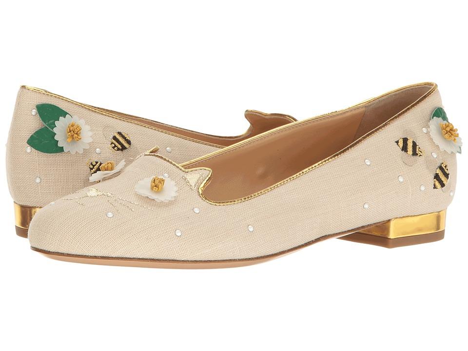 Charlotte Olympia Floral Kitty Flats (Natural/Gold Linen/Metallic Calfskin) Women