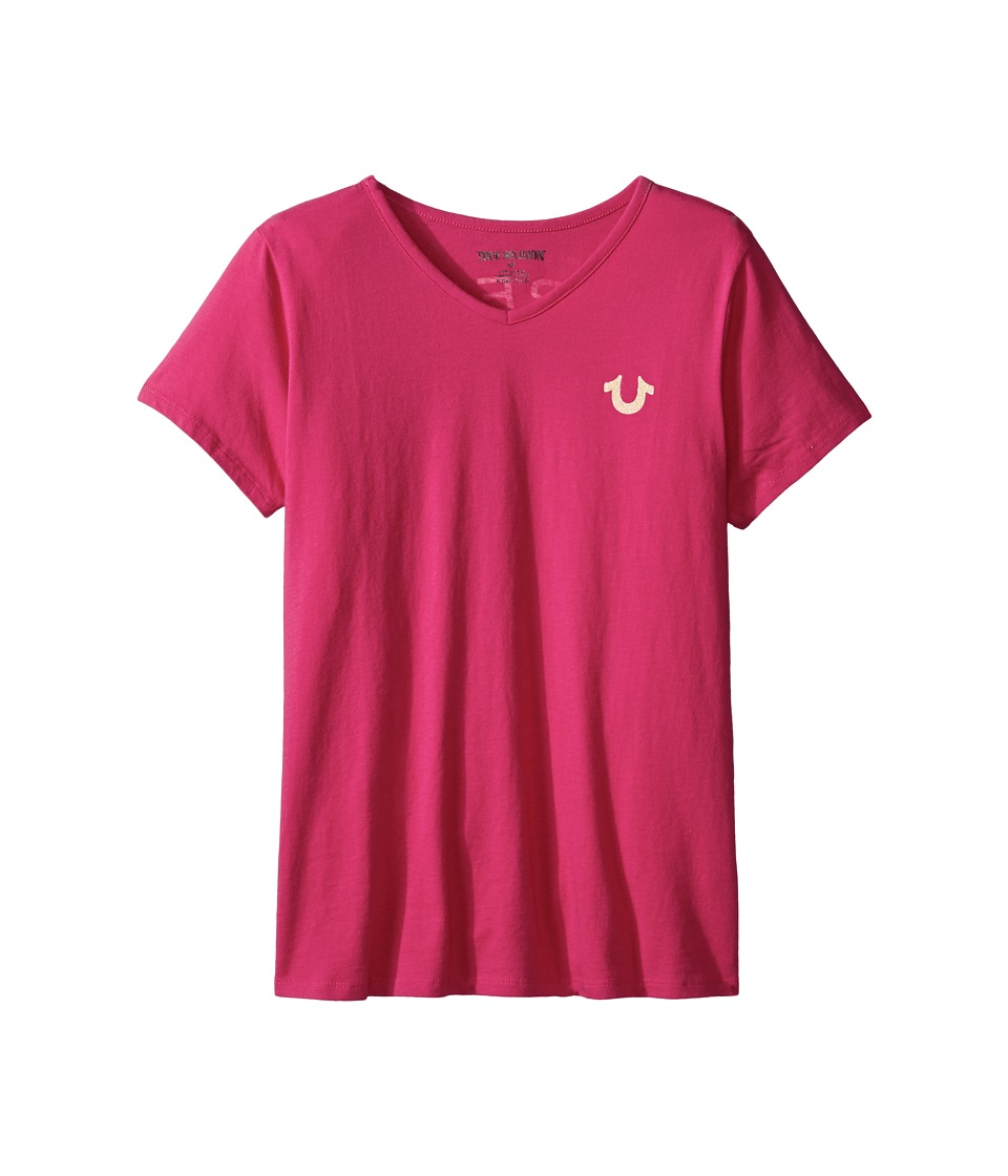 True Religion Kids Branded Logo T-Shirt (Little Kids/Big Kids) (Fuchsia) Girl