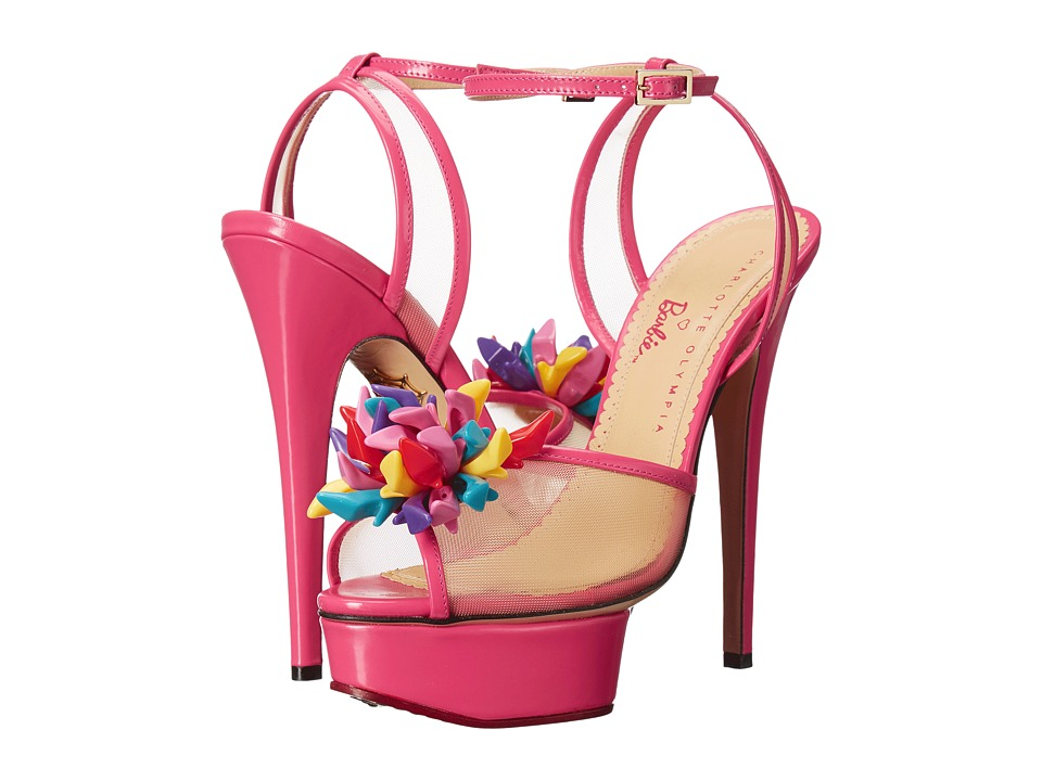 Charlotte Olympia Pomeline (Barbie Pink Printed Cotton/Patent) High Heels