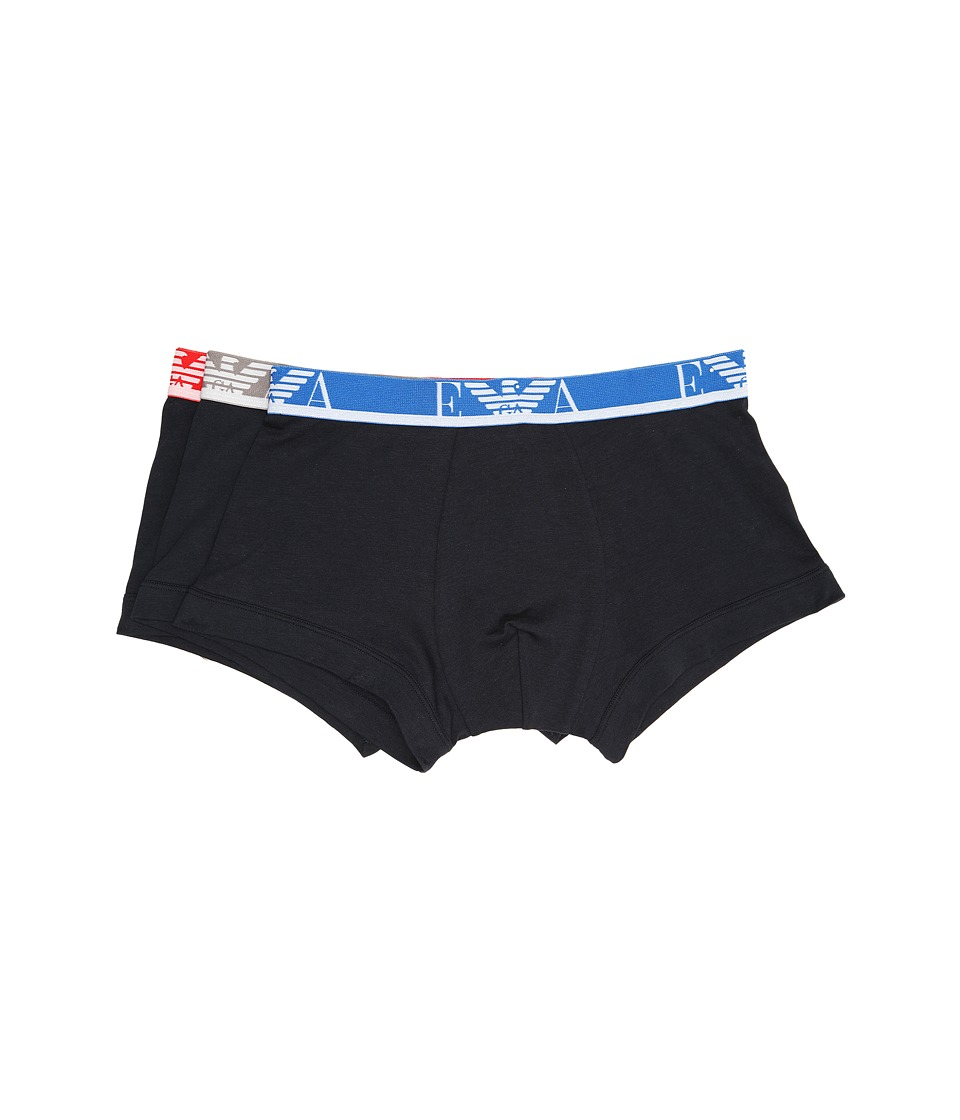 Emporio Armani - Colored Band 3-Pack Stretch Cotton Trunk (Marine) Men's Underwear