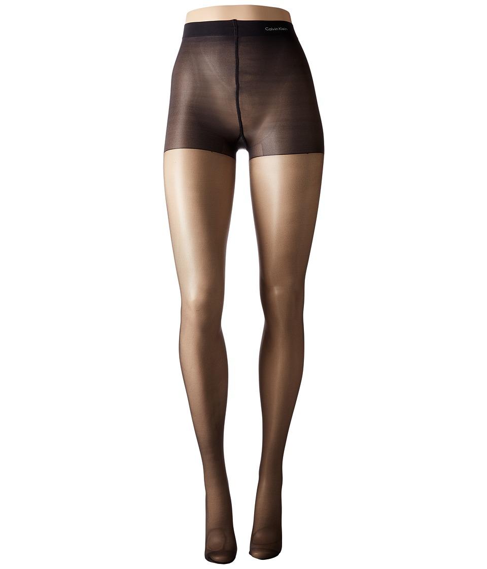 Calvin Klein - Matte Ultra Sheer w/ Control Top (Almost Black) Control Top Hose