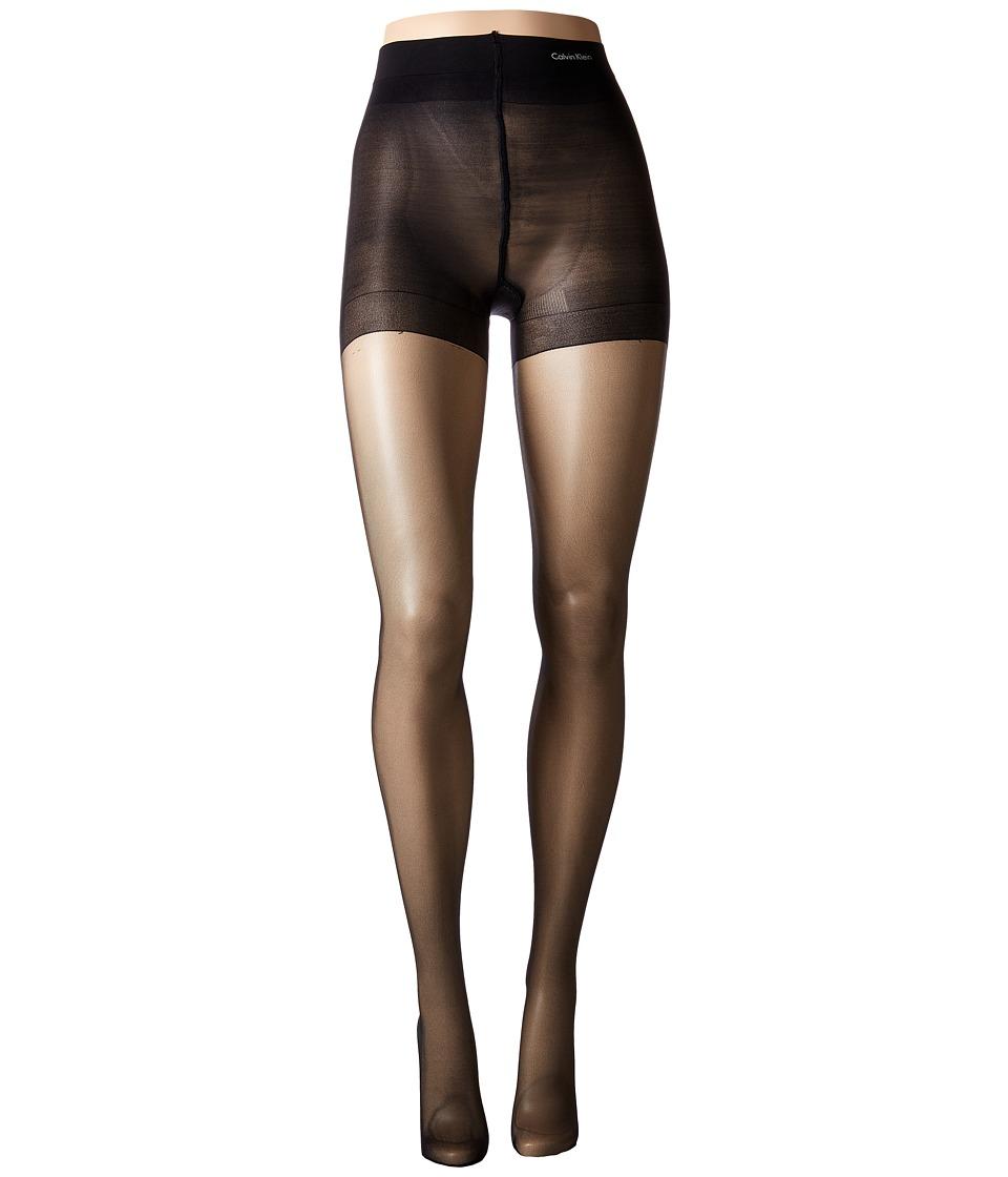 Calvin Klein - Sheer Stretch w/ Control Top (Black) Control Top Hose