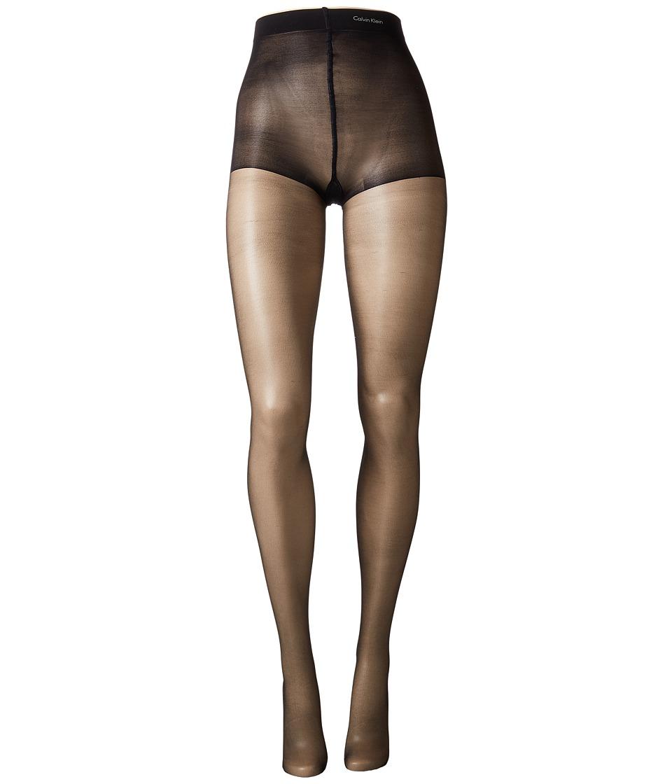Calvin Klein - Shimmer Sheer w/ Control Top (Black) Control Top Hose