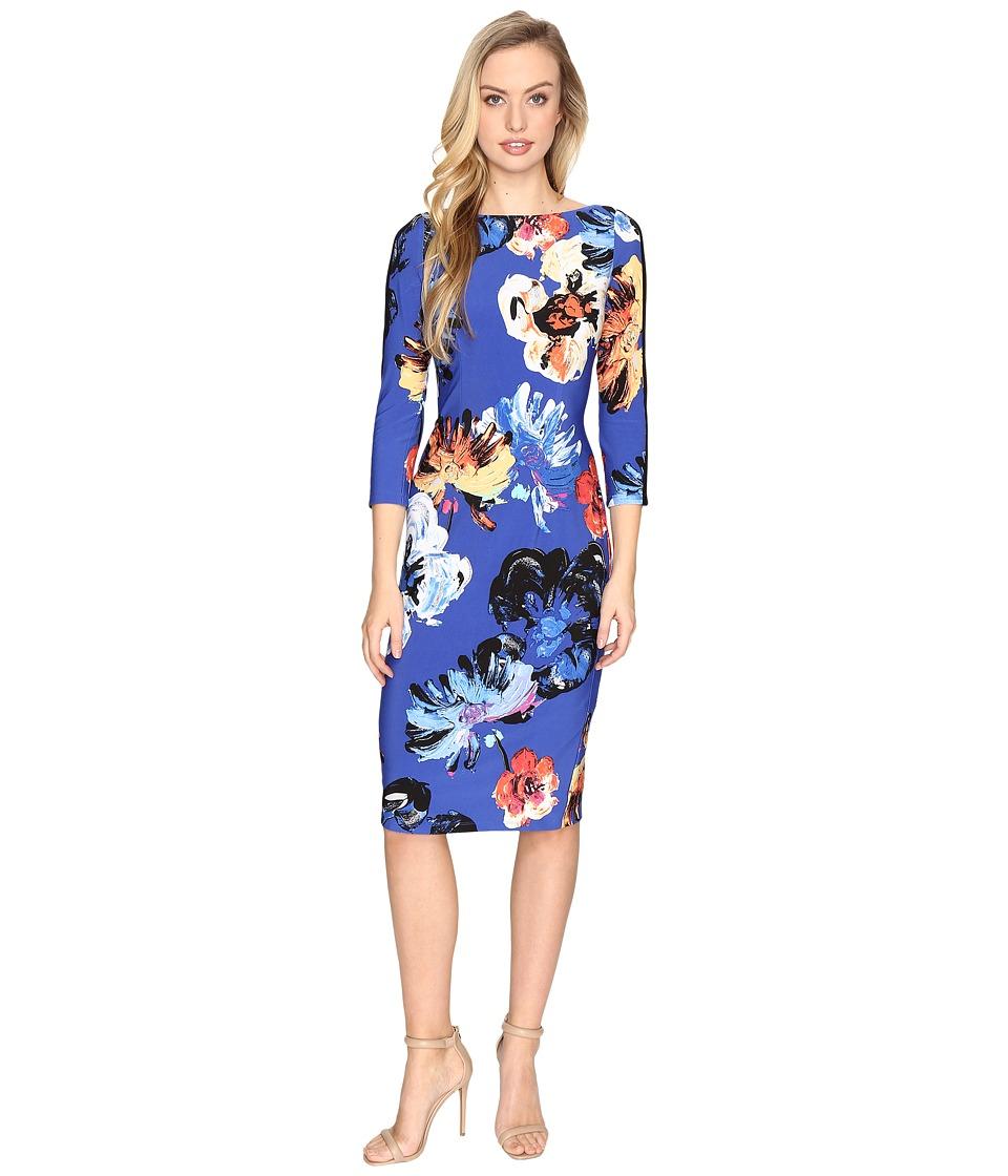 Maggy London Artistic Bloom Jersey Sheath Dress (Black/Sunset) Women