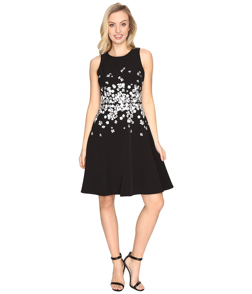 Maggy London Dream Crepe Fit and Flare w/ Embellishment Dress (Black) Women