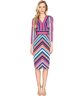 Maggy London - Placed Stripe Long Sleeve Sheath Dress