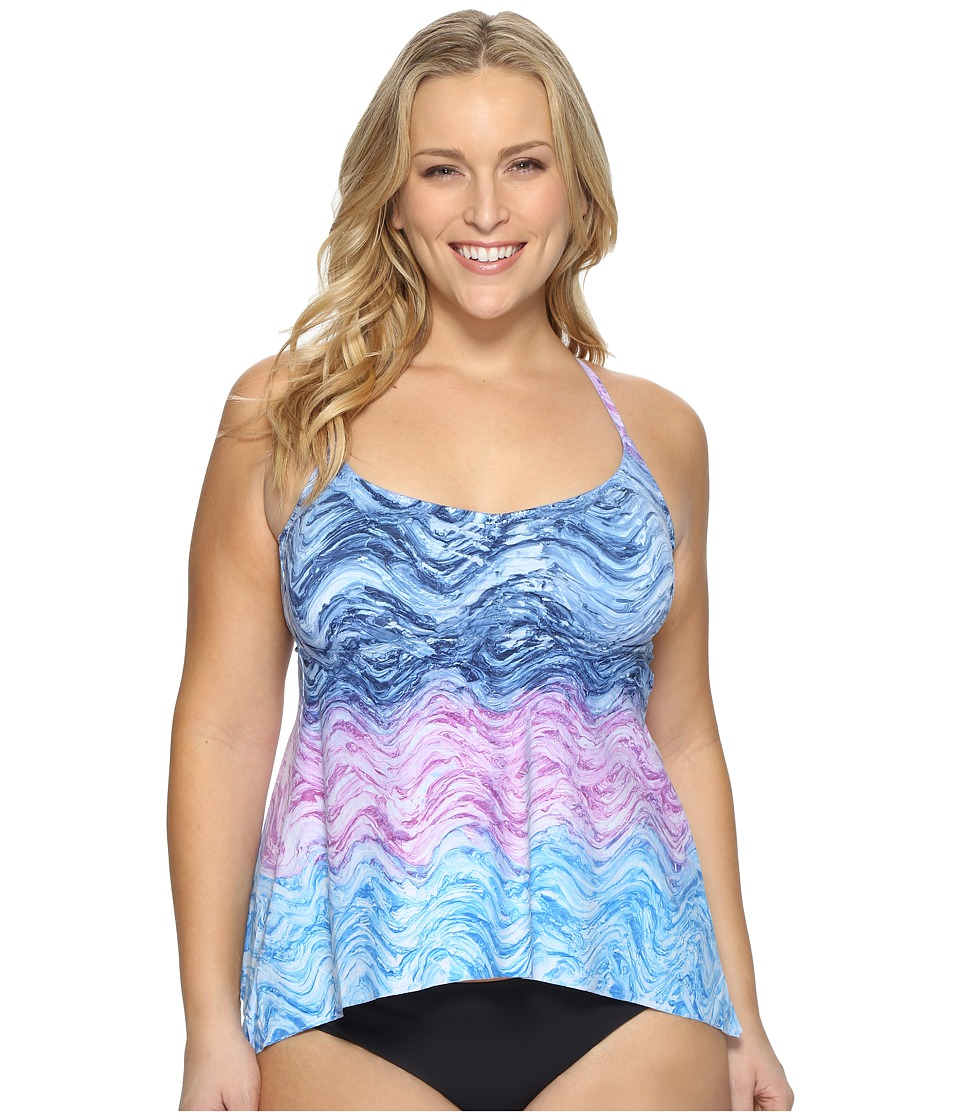 BECCA by Rebecca Virtue Plus Size Cosmic Tankini Top (Water) Women