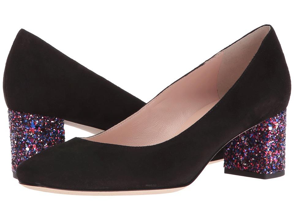 Kate Spade New York - Dolores (Black Kid Suede/Purple Glitter Heel) Women