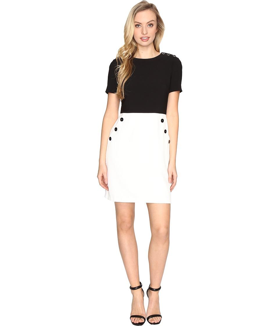 Maggy London Mystic Crepe Button Trim Dress (Black/Soft White) Women