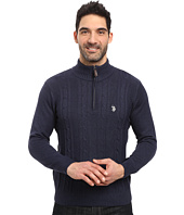 U.S. POLO ASSN. - 1/4 Zip Cotton Cable Sherpa