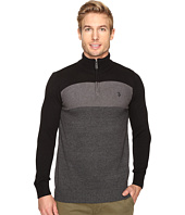 U.S. POLO ASSN. - 1/4 Zip Cotton Color Block Sherpa