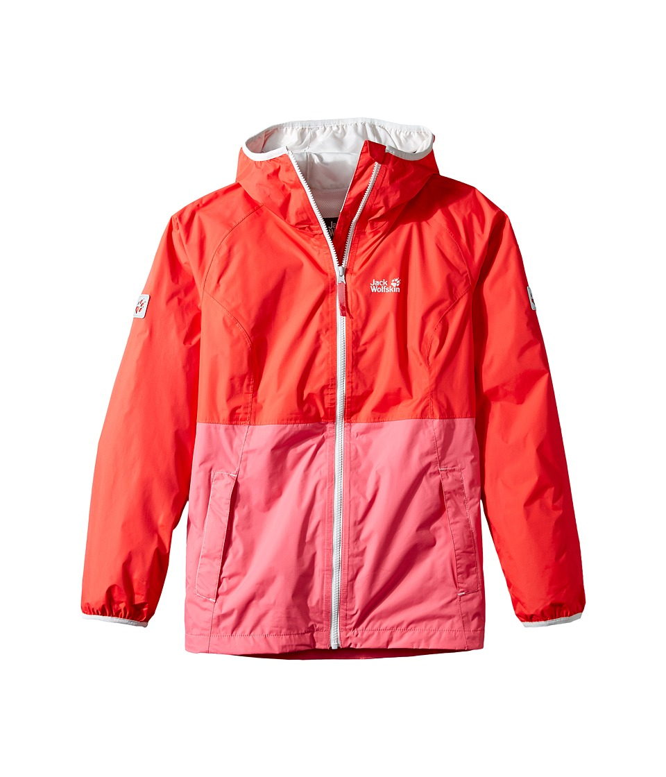 Jack Wolfskin Kids Rainy Days Rain Jacket (Little Kids/Big Kids) (Hibiscus Red) Girl