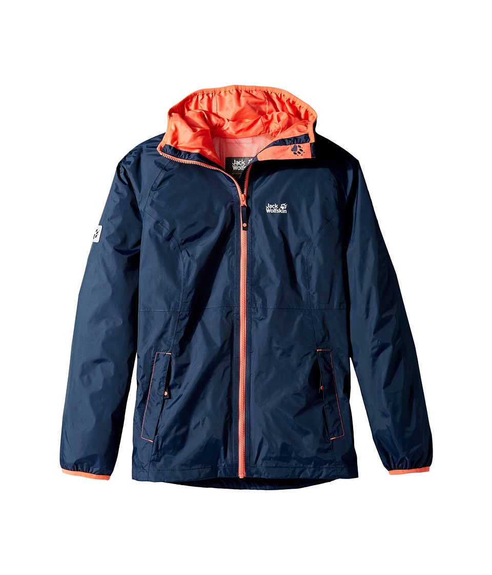 Jack Wolfskin Kids Rainy Days Rain Jacket (Little Kids/Big Kids) (Midnight Blue) Girl