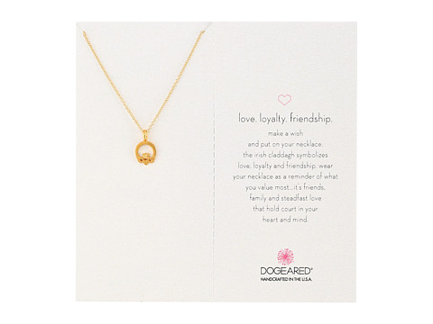 Dogeared Love Loyalty Friendship Claddagh Pendant Necklace - Gold Dipped