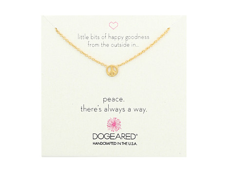 Dogeared Little Bits of Happy Mini Peace Sign Soldered Necklace