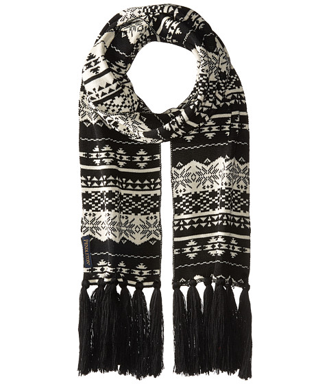 Pendleton Long Fringe Scarf - Black/Ivory