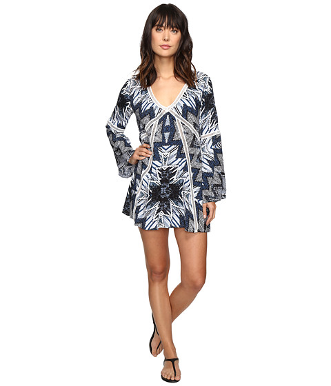 Red Carter Indigo Blues Rayon Tunic Cover-Up