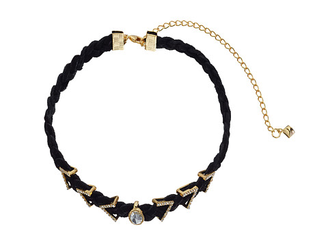 Rebecca Minkoff Arrows and Stone Charms on Braided Leather Choker Necklace - Gold/Crystal