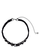 Rebecca Minkoff - Arrows and Stone Charms on Braided Leather Choker Necklace