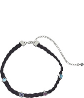 Rebecca Minkoff - Multi Stone Charms on Braided Leather Choker Necklace