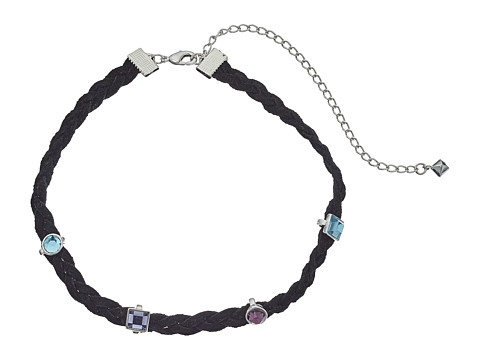 Rebecca Minkoff Multi Stone Charms on Braided Leather Choker Necklace - Silver/Blue Multi