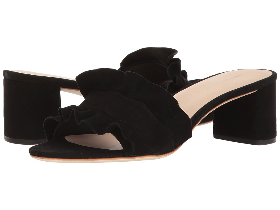 Loeffler Randall Vera Ruffle Sandal Mule (Black Kid Suede) Women's Shoes