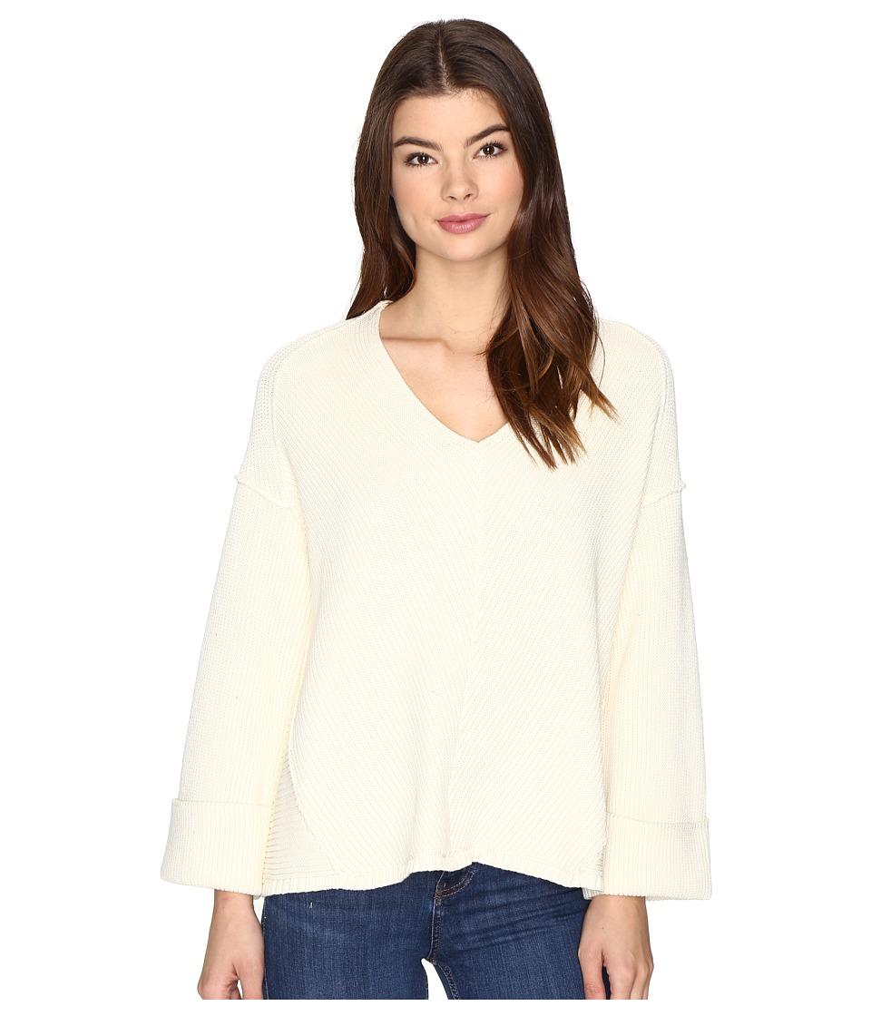 Free People La Brea V-Neck Sweater (Ivory) Women