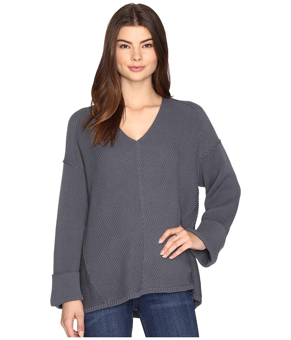Free People La Brea V-Neck Sweater (Slate) Women